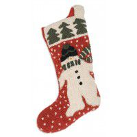 Chilly Man Snowman Wool Stocking 9 x 20
