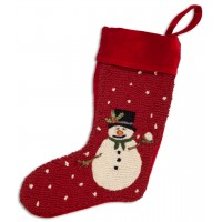 Holly Man Snowman Wool Stocking 9 x 20