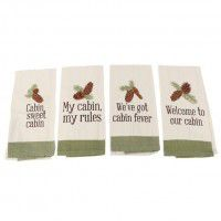 Cabin Sayings Embroidered Dishtowel (4 styles)