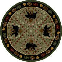 Patchwork Bear Round Rug - Green