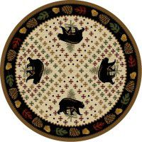 Patchwork Bear Round Rug - Natural
