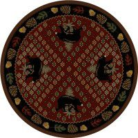 Patchwork Bear Round Rug - Red