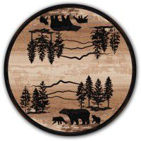 Mountain Shadow Bear Round Rug