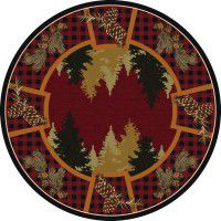 Plaid Woodsman Round Rug