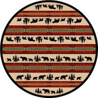 Bear Adventure Round Area Rug