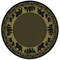 Black Bear Family on Green Round Area Rug