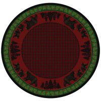 Black Bear Family on Multi Round Area Rug