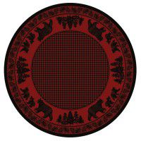 Black Bear Family on Red Round Area Rug