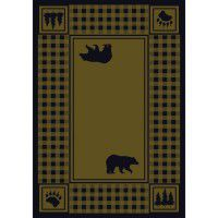 Bear Refuge on Green Area Rugs