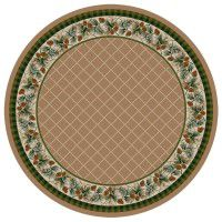 Evergreen in Sandstone Round Area Rug