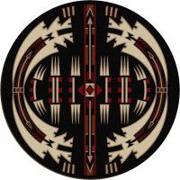 Horse Thieves Black Round Rug