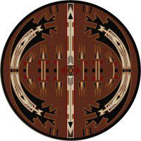 Horse Thieves Brown Round Rug