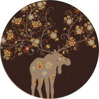 Moose Blossom-Round Rug-Chocolate