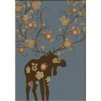 Moose Blossom Area Rugs - Blue