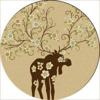 Moose Blossom-Round Rug-Natural