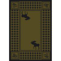 Moose Refuge on Green Area Rugs