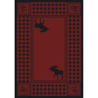 Moose Refuge on Red Area Rugs