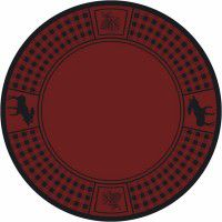 Moose Refuge on Red Round Rug