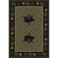 Patchwork Bear Rug - Green