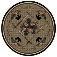 Pine Cone and Bear Round Area Rug