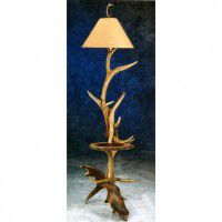 Elk & Moose Floor Lamp with Shelf