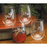 Assorted Gamebirds Stemless Wine Glasses