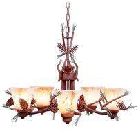 Lodge style chandeliers rustic chandeliers lighting sienna amber swirl pine cone chandelier aloadofball Images