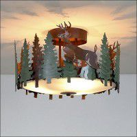 Woodcrest Deer Semi-Flush Ceiling Light