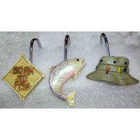 Born to Fish Shower Curtain Hooks