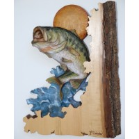 """Big Splash"" Bass Original and Signed Carving 12 x 17"
