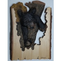 """""""In a Tight Spot"""" Original and Signed Woodcarving 15.25 x 21.5"""