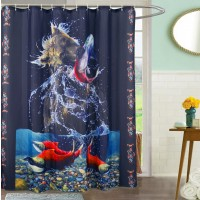 Bear Catch Shower Curtain with 12 Hooks