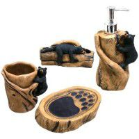 Bears on the Log Bathroom Accessories Set