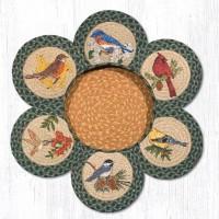 """Jute Singing Birds 10"""" Trivet Set with Basket"""