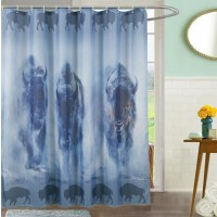 Bisons Shower Curtain with 12 Hooks