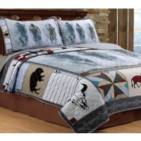 Bison Buffalo Rustic Bed Quilt Set
