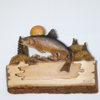 Mountain Eddy Original and Signed Carving 13 x 17