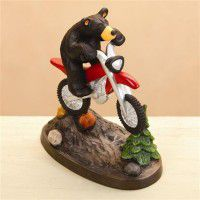 Dirt Bike Bear Figurine
