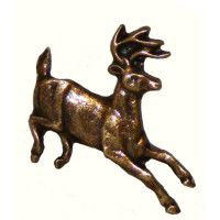 Antique Brass Running Whitetail Deer Knob