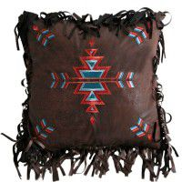 Fringed Embroidered Cross Pillow