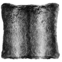 Black Wolf Faux Fur Pillow