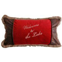Embroidered Welcome/Lake Pillow