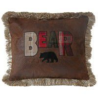 Faux Leather Bear Pillow