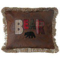 Faux Leather Bear Pillow