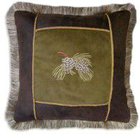 Embroidered Pine Cone Pillow