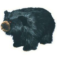 Shaggy Black Bear Footstool
