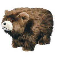 Shaggy Brown Bear Footstool