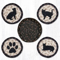 Porch Cat Jute Coasters with Basket