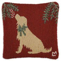 Golden Mistletoe Dog Pillow