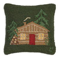 Cabin on Green Wool Pillow
